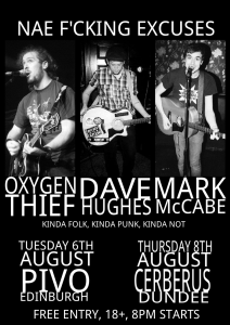 Poster for August gigs